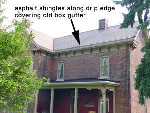 Copper Snow Aprons at slate roof central - Victorian house with asphalt drip edge